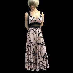 Maxi φόρεμα με τιράντες από μαύρη δαντέλα