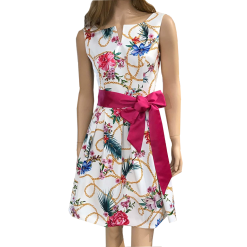 Mini dress A line with fuchsia belt