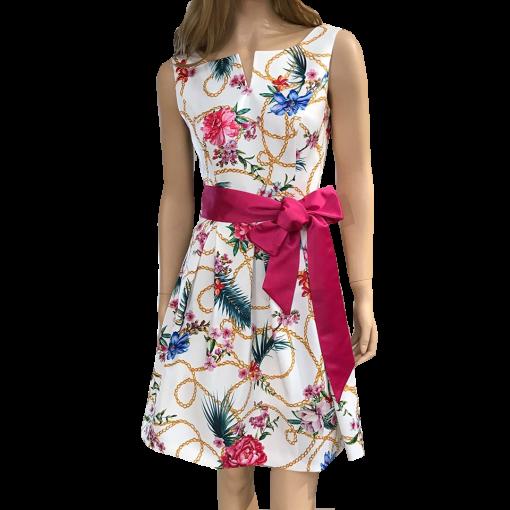 Mini φόρεμα Α γραμμή με φούξια ζώνη